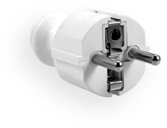 Wtyczka prosta 16A z/u UNI-SCHUKO 230V rozbieralna biała WT-30
