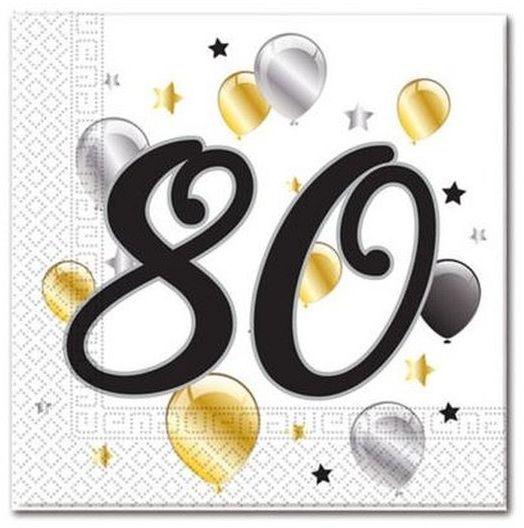 Serwetki papierowe na 80 urodziny 33x33cm 20 sztuk 88871