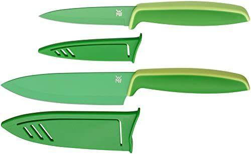 WMF Touch 2-częściowy zestaw noży kuchennych z etui, specjalna stal ostrza z powłoką zapobiegającą przywieraniu, ostry, nóż kucharski, nóż do warzyw, zielony