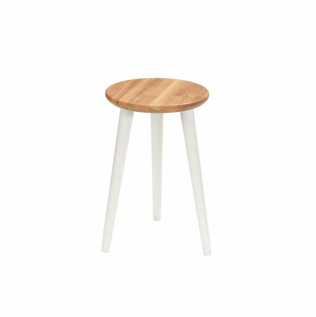 Taboret lub hocker okrągły z litego dębu Modern Oak, Wykończenie nogi - Biały, Wysokość - 470, Wymiar siedziska (Średnica) - 300