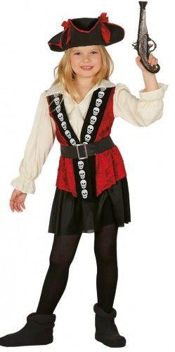 Kostium dla dziewczynki Piratka Elegantka z Czaszkami