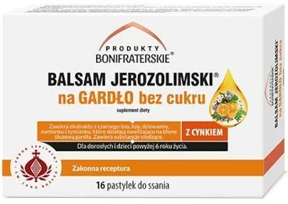 Produkty Bonifraterskie balsam Jerozolimski na gardło bez cukru 16 pastylek do ssania