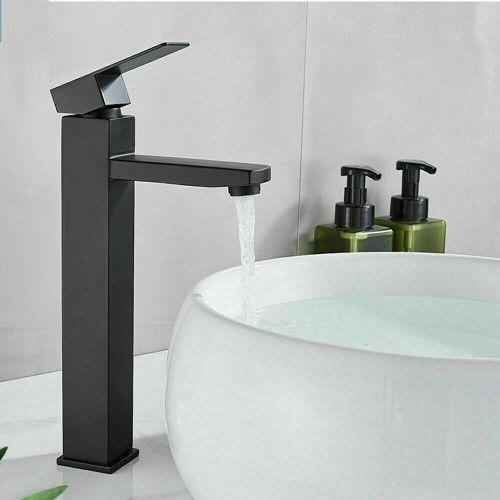 Bateria wysoka umywalkowa jednouchwytowa 29 cm, czarna