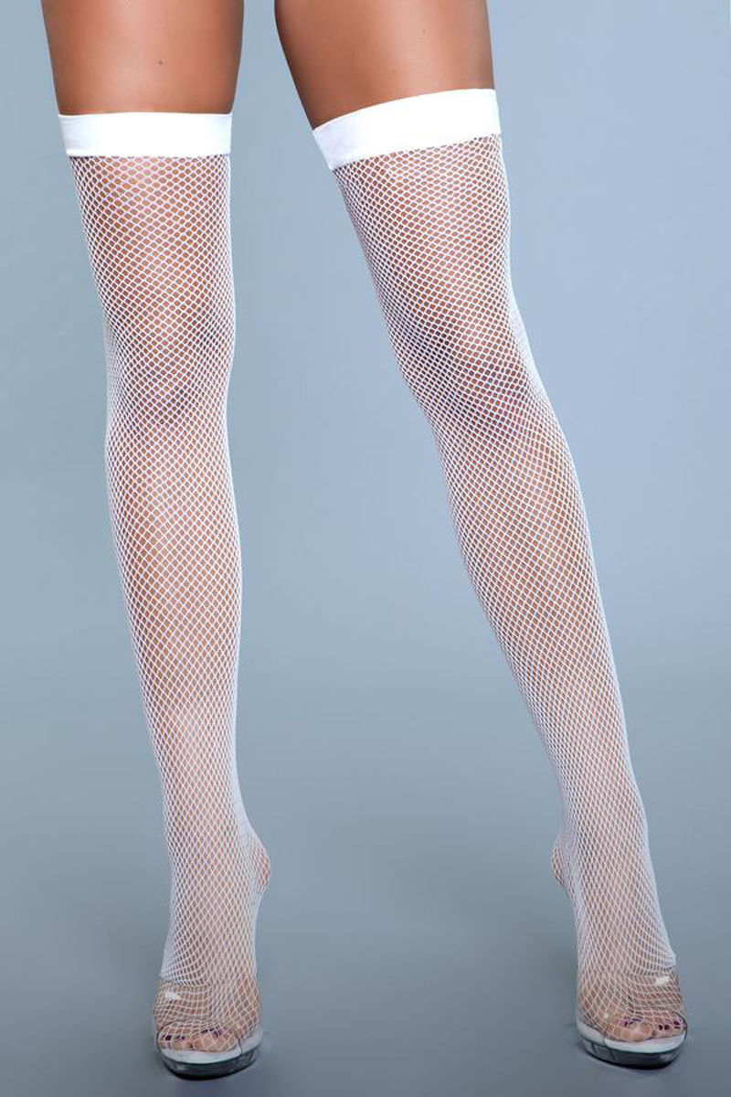 Be Wicked Great Catch Fishnet Backseam Stockings White