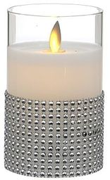 """7,5x12,5 cm ŚWIECA WOSKOWA LED z Ruchomym Płomieniem w Szklanym Cylindrze, """"TIMER"""""""