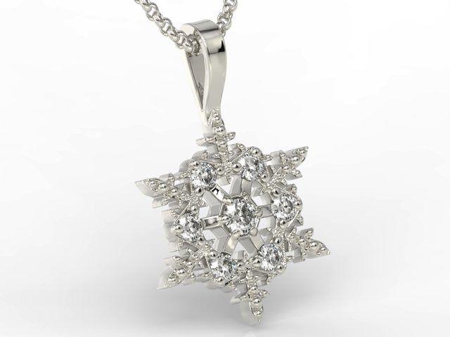 Wisiorek śnieżynka z białego złota z diamentami lpw-8608b