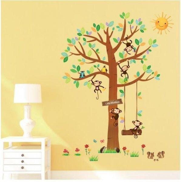 Naklejki drzewko z wesołymi małpkami