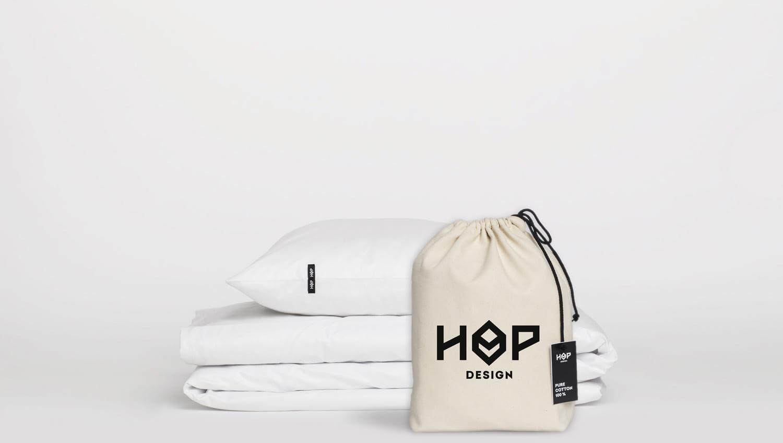 Pościel Perkal 160x200 Hop Design Pure Biały
