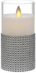 """7,5x15 cm ŚWIECA WOSKOWA LED z Ruchomym Płomieniem w Szklanym Cylindrze, """"TIMER"""""""
