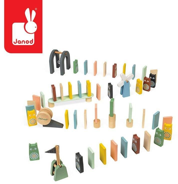 Drewniane domino sweet cocoon 100 elementów, 3+, janod