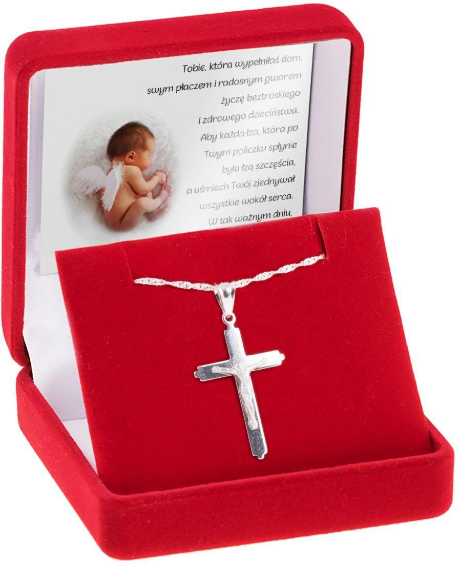 Srebrny krzyżyk z Jezusem z łańcuszkiem / dla mężczyzny, chłopca / z Grawerem i Dedykacją