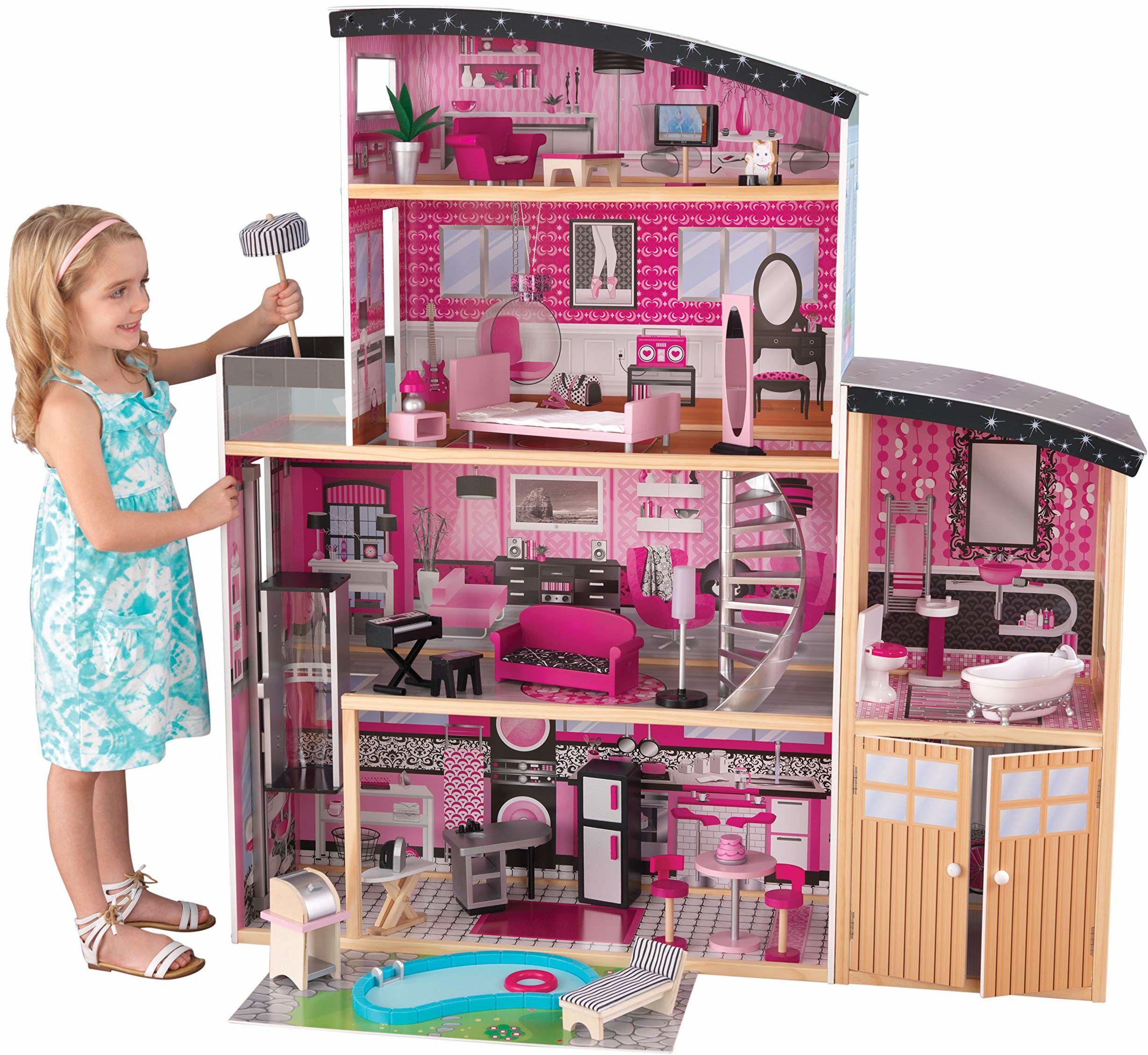 KidKraft 65826 Sparkle Mansion drewniany domek dla lalek z meblami i akcesoriami, 3-piętrowy zestaw zabaw dla lalek 30 cm