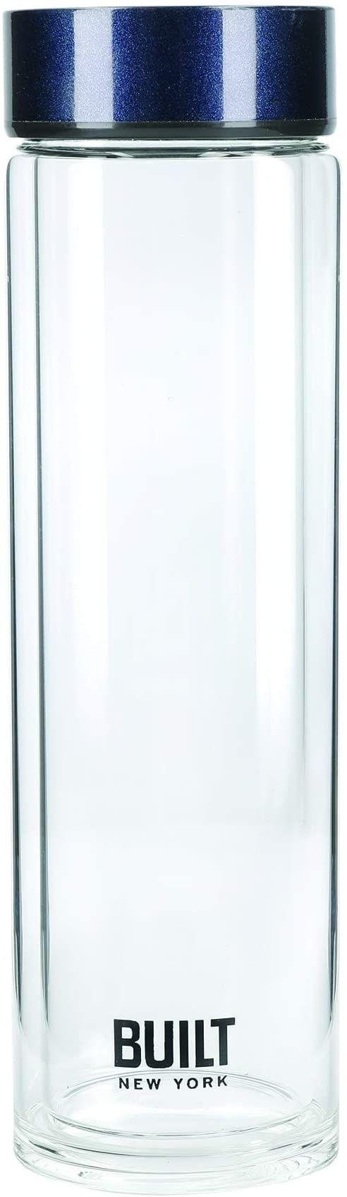 BUILT Tiempo butelka na wodę ze szkła z izolacją, nie zawiera BPA szkło borokrzemowe/piersiówka ze stali nierdzewnej, ciemnoniebieska, 450 ml
