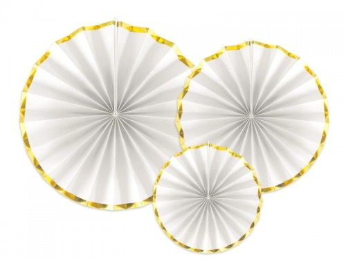 Rozety dekoracyjne białe ze złotą obwódką