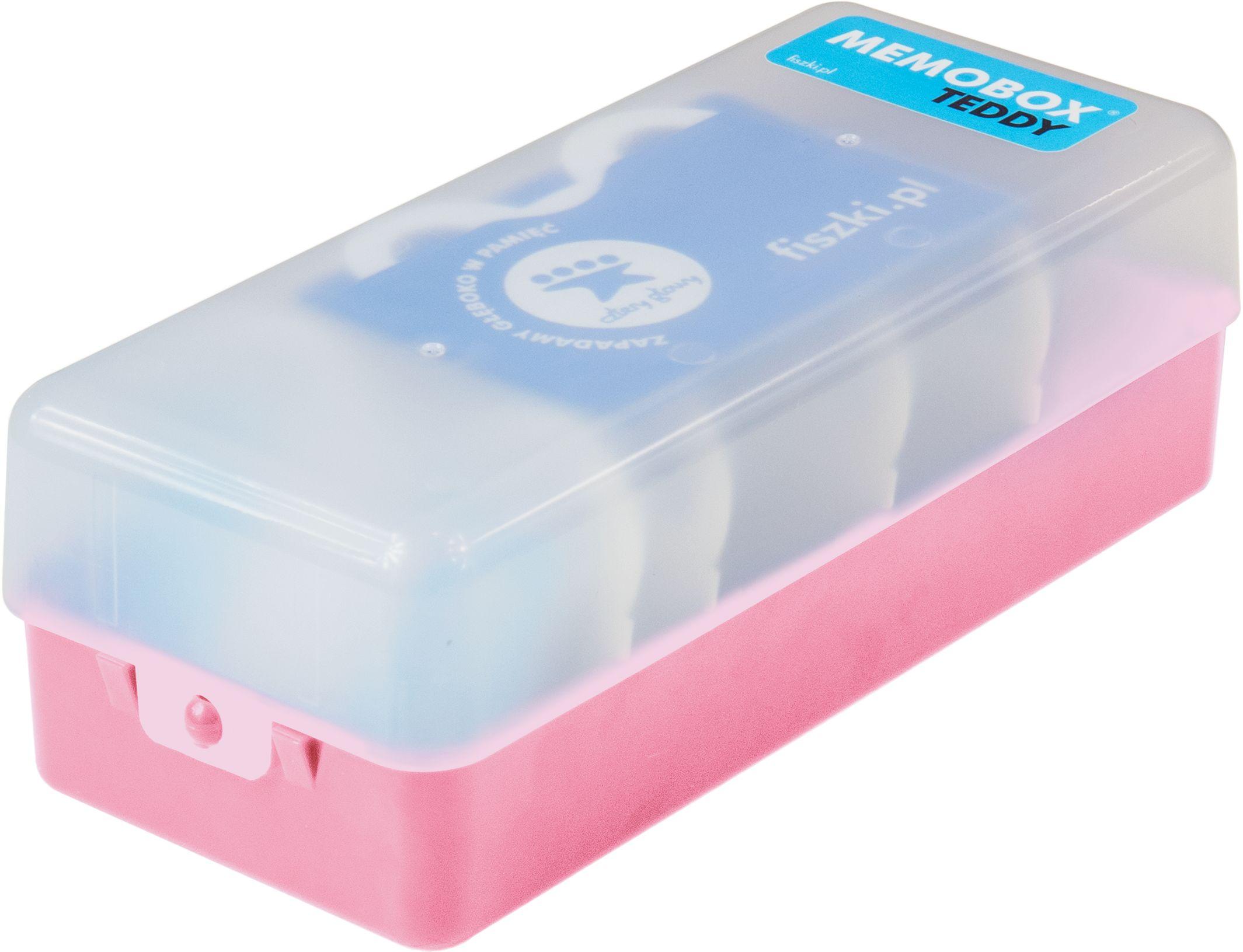MEMOBOX TEDDY PINK - pudełko do nauki z fiszek