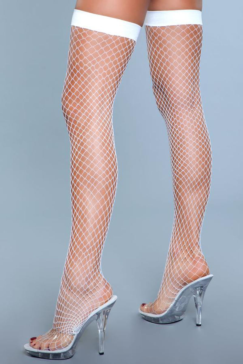 Be Wicked Catch Me If You Can Fishnet Stockings White