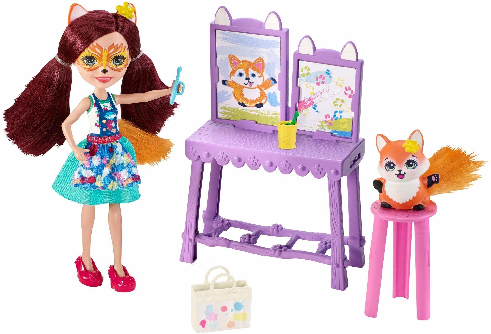 Enchantimals GBX03 Art Studio Playset z sztalugą i akcesoriami - lalka Felicity Fox i Flick figurka zwierzęca, wielokolorowa, 15 cm