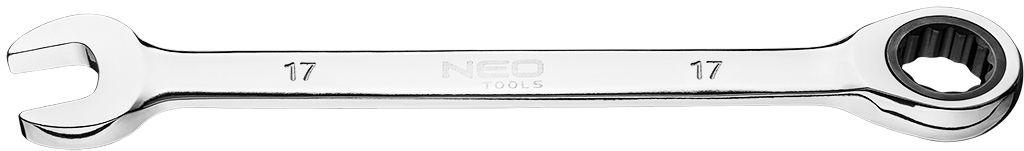 Klucz płasko-oczkowy z grzechotką, 17 mm