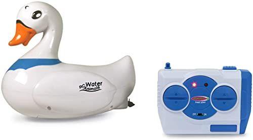 JAMARA 410108 - RC Water Animals łabędzia 2,4 GHz - z funkcją bezpieczeństwa śruby okrętowe obracają się tylko w wodzie, 2 silniki napędowe, łatwe sterowanie, biały