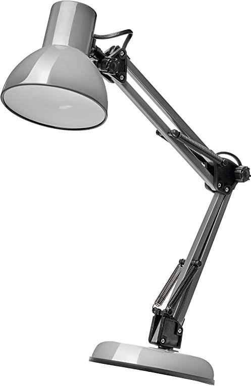 EMOS Designerska lampa biurkowa LUCAS, Vintage lampa stołowa z oprawką E27 / metalowa lampka nocna z zasilaczem/szara lampka do czytania z regulowanym ramieniem