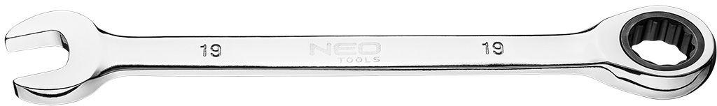 Klucz płasko-oczkowy z grzechotką, 19 mm