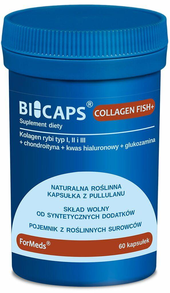 BICAPS Collagen Fish+ Kolagen typ. I + II + III Chondroityna Glukozamina Kwas Hialuronowy (60 kaps) ForMeds
