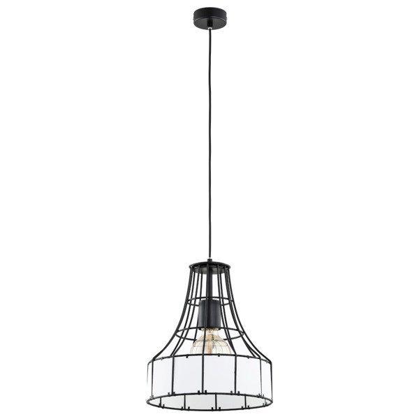 Druciana lampa kratka z kloszem BORNEO czarno-biała śr. 28cm