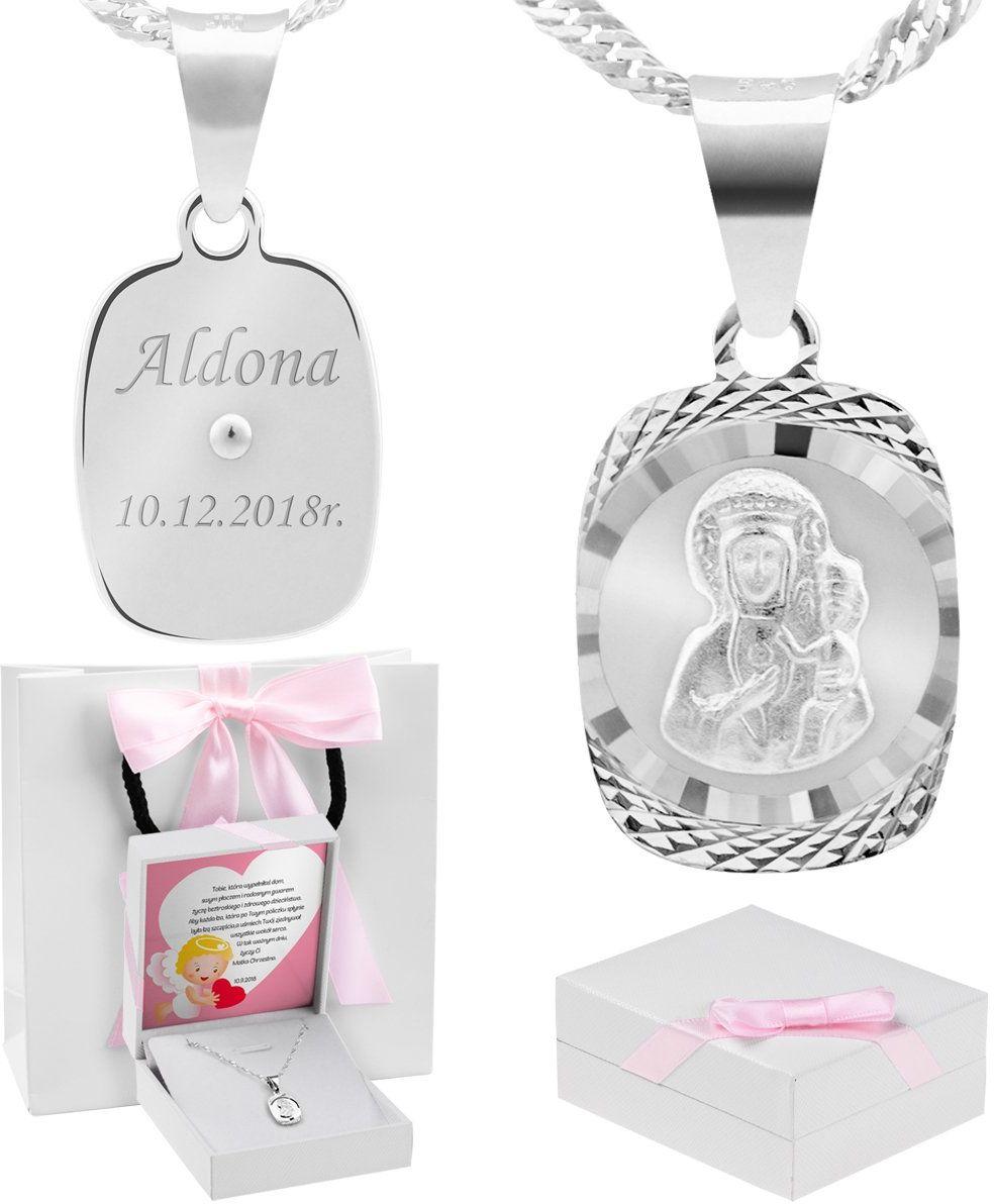 Srebrny medalik Matka Boska Częstochowska pr. 925 Grawer różowa kokardka - Białe z różową kokardką