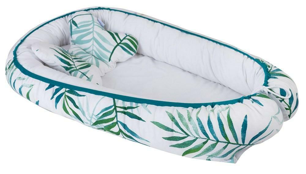 Gniazdko niemowlęce Velvet kokon liście biały zielony materacyk poduszka motylek 55x80 kolor 1