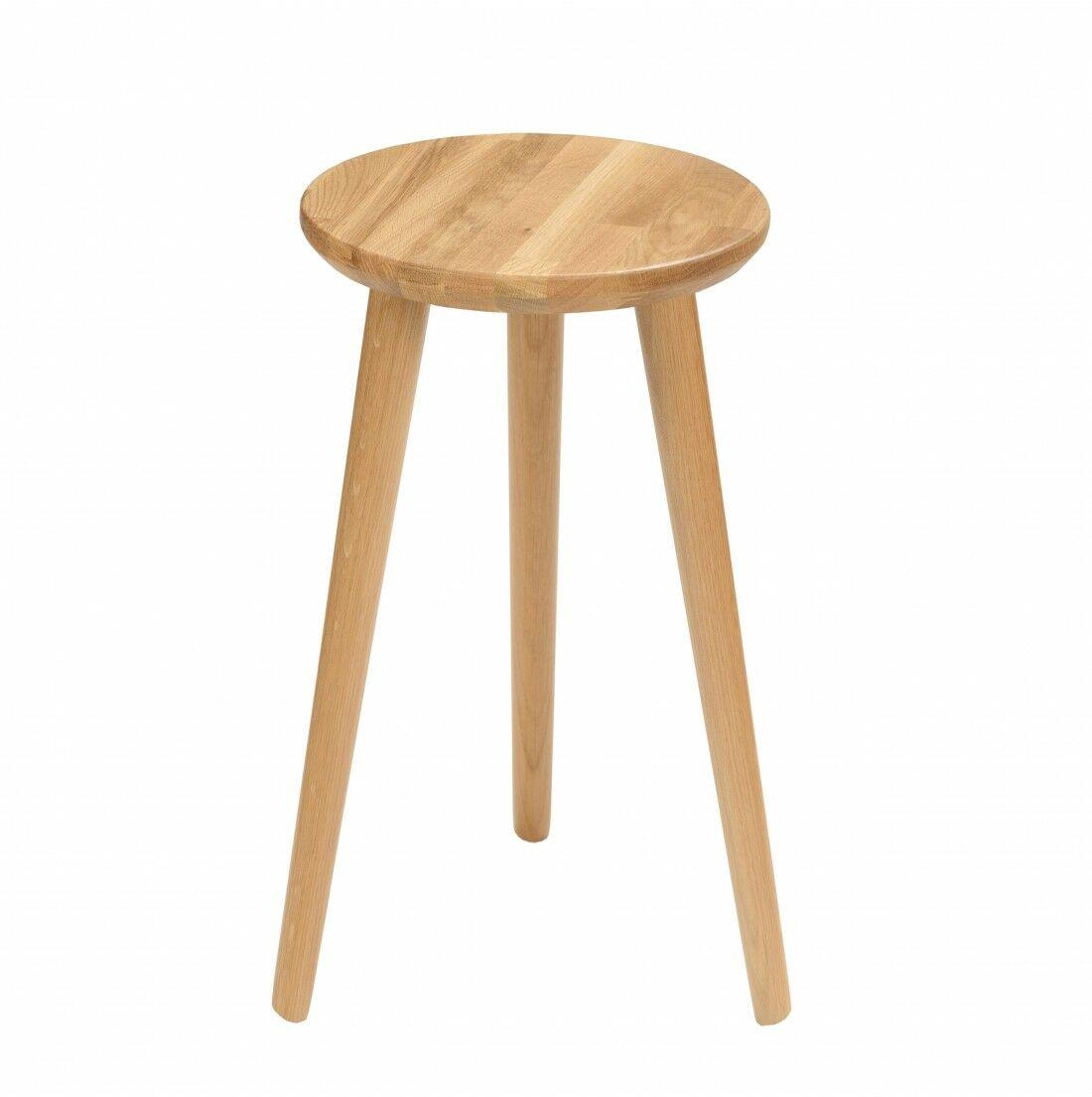Taboret lub hocker okrągły z litego dębu Modern Oak, Wykończenie nogi - Dąb olejowany, Wysokość - 540, Wymiar siedziska (Średnica) - 300