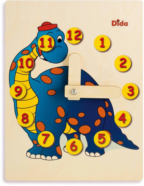 Dida - Zegarek do nauki dla dzieci - dinozaury - bawiący się zegarek, zegar do nauki dzieci z drewna do przedszkola, szkoły i domu