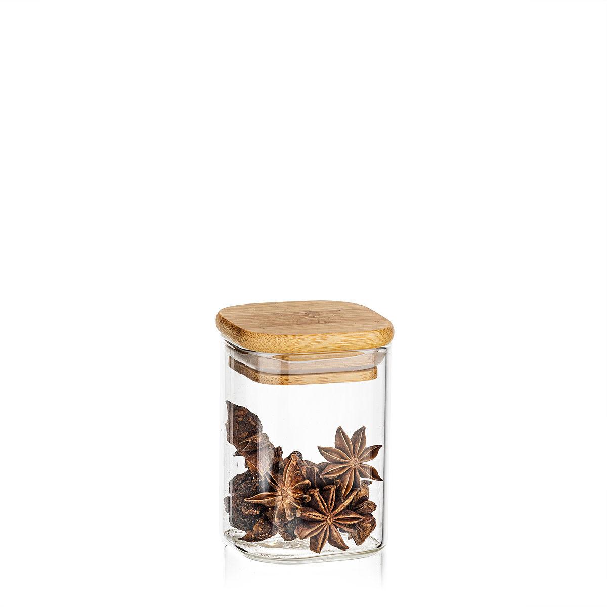 4Home Szklany pojemnik do żywności z wiekiem Bamboo, 170 ml