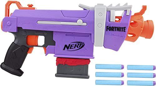 Wyrzutnia Nerf Fortnite SMG-E  zautomatyzowane wystrzeliwanie strzałek  6-strzałkowy magazynek, 6 oryginalnych strzałek Nerf Elite  dla dzieci, młodzieży, dorosłych.