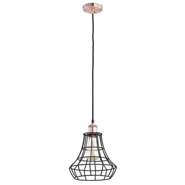 Druciana lampa kratka SOLIX czarny/miedź śr. 17,5cm