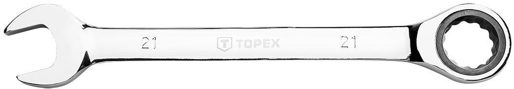 Klucz płasko-oczkowy z grzechotką, 21 mm