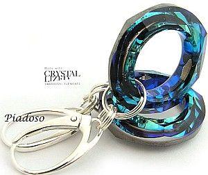 SWAROVSKI piękne kolczyki pierścienie BLUE
