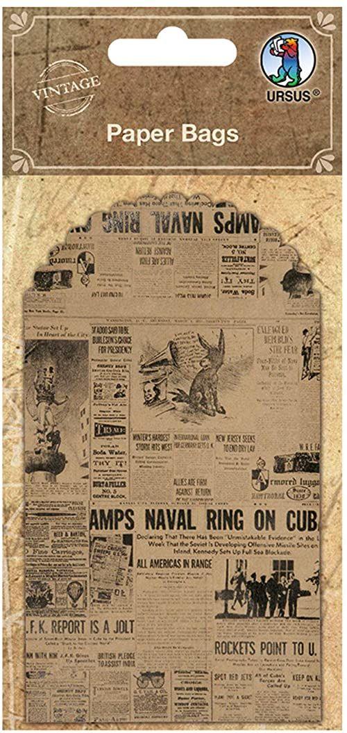 Paper Bags, woreczek na prezent z papieru z nadrukiem starego motywu na gazety, 6 sztuk po 7 x 10,2 cm