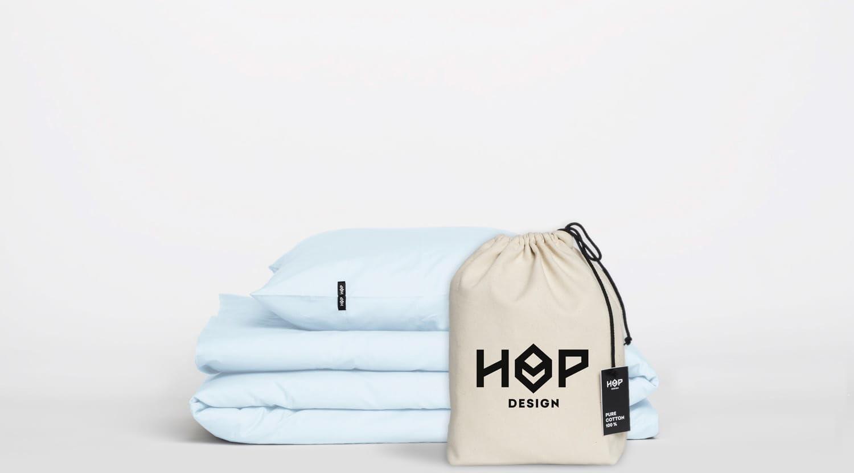 Pościel Perkal 160x200 Hop Design Pure Pastelowy Błękit