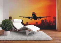 AG Design FTxxl 0183 podnoszenie samolotu w nocy, papierowa fototapeta - 360 x 255 cm - 4 części, papier, wielokolorowy, 0,1 x 360 x 255 cm