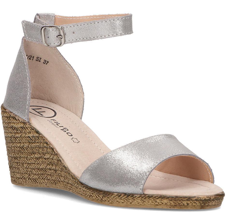 Skórzane sandały Filippo DS2137/21 SI srebrne