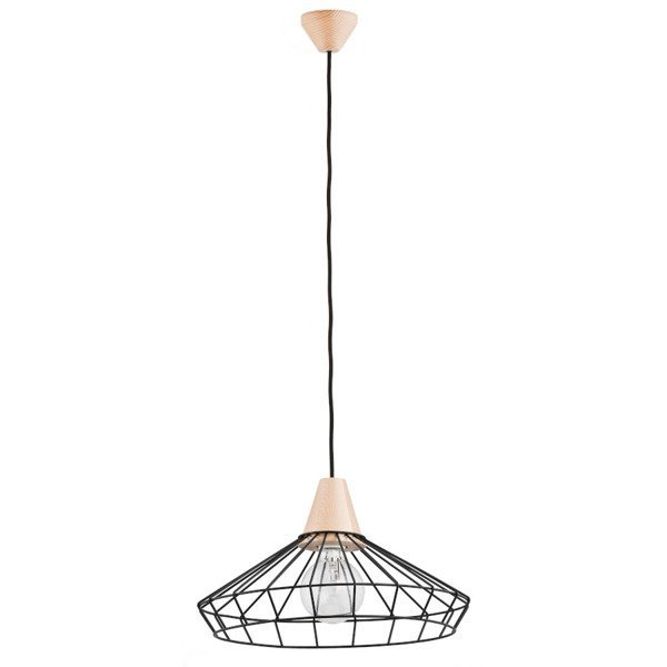 Druciana lampa kratka WART czarna/drewno śr. 40cm - czarny