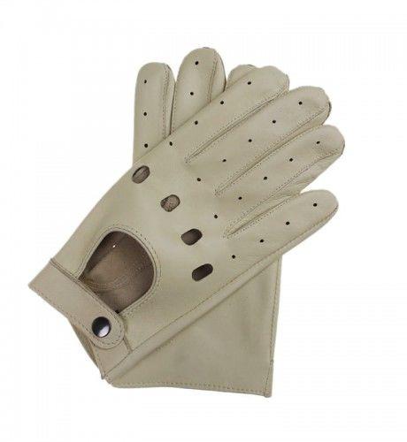 Letnie, skórzane rękawiczki samochodowe - jasne, kremowe