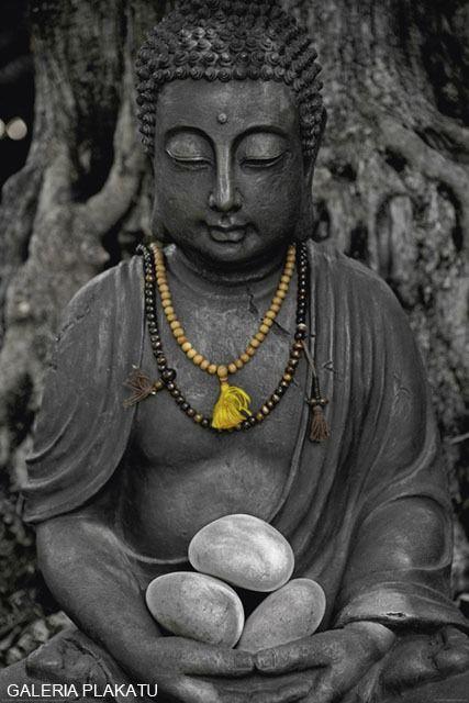 Kamienny budda - buddha stone - plakat