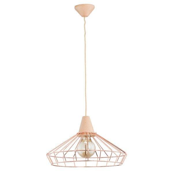 Druciana lampa kratka WART miedź/drewno śr. 40cm - miedziany