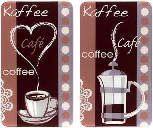 WENKO Uniwersalny zapach kawy  zestaw 2 osłon na płyty grzewcze i szklana deska do krojenia do wszystkich rodzajów kuchenek, szkło hartowane, 30 x 1,8  5,5 x 52 cm, wielokolorowa