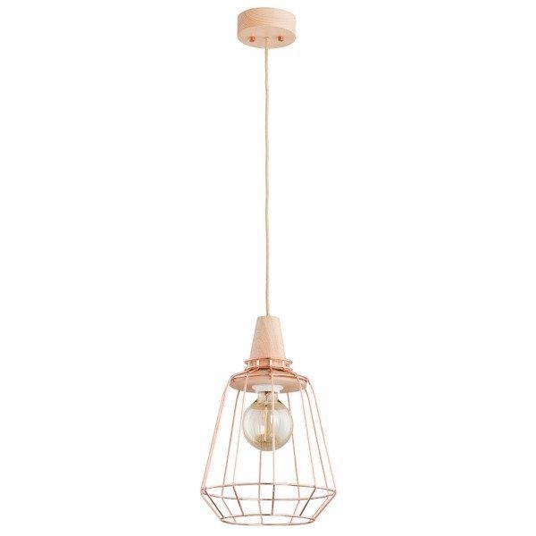 Druciana lampa kratka PEKA miedź/drewno śr. 24cm - miedziany
