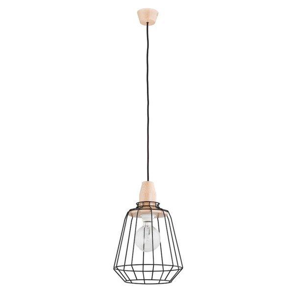 Druciana lampa kratka PEKA czarna/drewno śr. 24cm - czarny