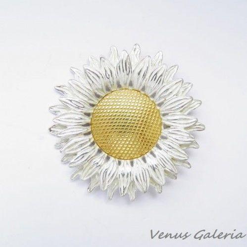 Wisior srebrny - Biały słonecznik duży