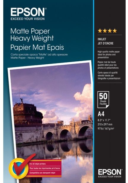 Papier EPSON Matte Paper Heavy Weight 167g - A4, 50 arkuszy (C13S041256)