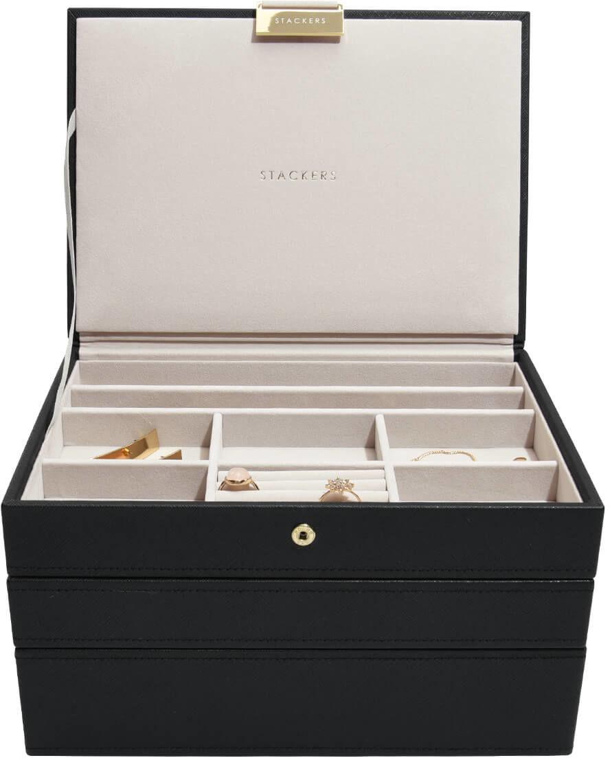 Pudełko na biżuterię, potrójne (czarne) Classic Stackers